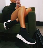 твердые цветные туфли оптовых-Balenciaga Sock Shoes Luxury brand мужчины носок обувь для ходьбы черный белый красный скорость тренер спортивные кроссовки ТОП сапоги Повседневная обувь мужская 36-45