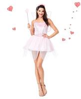 meninas de fantasia de asas de borboleta venda por atacado-Brilhante Lantejoula Rosa Elf Vestido Com Asas de Borboleta Flor Fada Princesa Rainha Cosplay Adulto Feminino Menina Roupas de Halloween sexy