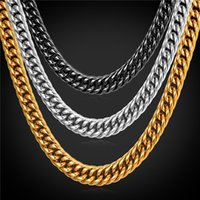 Wholesale 9mm Stainless Steel Necklace - U7 9MM Statement Gold Chain Necklace Bracelet Men Jewelry 18K Gold Plated Stainless Steel African Ethiopian Jewelry Set Accessories GN2239