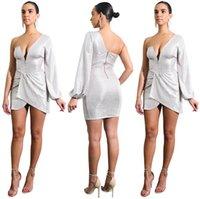 robe de nuit conçoit les femmes achat en gros de-Femmes Irrégulières Robes Nouveau Design Profonde V Sexy Night Club Robe Fermeture Éclair Fermeture Parti Robes Taille S-2XL