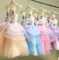 Wholesale Little Princesses Dresses - Girl Unicorn Dress Summer Embroidery Flower Baby Girls Party Dresses Kids Wedding Dress Little Girl Princess Dress KKA4399