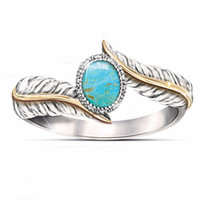Wholesale turquoise jewelry for wedding - 2018 New Arrival Silver Color Rings for Women Simulated Turquoise Feather Ring Cocktail Party Wedding Jewelry Gift drop ship