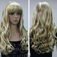 uzun doğal sarışın kıvırcık peruk toptan satış-Ücretsiz kargo + + + + SıCAK !!! Kadınlar Bayanlar Seksi Uzun kıvırcık Sarışın Doğal Saç tam peruk