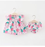 ingrosso i bambini stampati blu usura-Le neonate portano il fiore della sospensione dei bambini stampati rosa blu dei frutti con i bicchierini dei vestiti del cotone dei bambini di estate