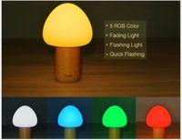 Wholesale led mushroom desk lamps resale online - 5color Changeable USB Chargeable LED Wooden Mushroom Night Lights Lamp Remote Control Table Lamp Desk Lights Lamp Beside Lighting