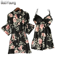 2ab54d5a44 BabYoung Spring Autumn Pajamas Robes Set for Woman Silk Sexy Twinset Women  Night Camisole Robes Dress Home Wear Sleepwear Femme
