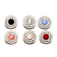 botones de perlas de cristal de moda al por mayor-10X Rhinestones Perla Botones de Cristal para DIY Pulseras Collar Joyería de Moda Decoración de Boda Colthing Chica Hebilla de Pelo Accesorios de Metal