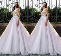 Wholesale Vestidos Renda Sexy - Tulle Skirts Appliques Bust Ruffles Waist Wedding Dresses Vestidos De Renda Sleeveless 2018 New Wedding Dresses Free Shipping
