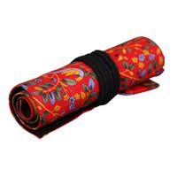 ручка делает оптовых-Холст Литература Wrap Roll Up Pen Пенал Держатель Сумка Для Хранения Макияжа Красное Дерево