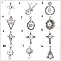 Wholesale alloy sword pendant resale online - Fashion women Sword cross key Snap Pendant Necklace diy Jewelry with chain Fit mm charm Button gifts