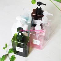 bouteille vide de parfum achat en gros de-280 ml 10 oz carré vide rechargeable PETG bouteille cosmétique lotion pompe bouteilles de couleur en plastique shampooing contenants bouteille pour voyage