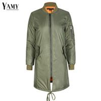 Wholesale female military jackets - Winter coat women army green ladies female bomber jacket autumn women's jacket female padded long basic coats military outerwear