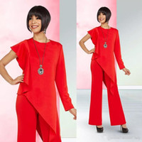 Wholesale garment size resale online - Red Mother Of Bridal Pant Suits For Wedding Plus Size Mothers Formal Outfit Garment Jewel Neck Long Sleeves Prom Evening Dresses