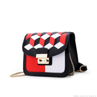 Wholesale Fighting Woman - 2018 spring weave women Messenger bags simple Geometric fight color female bag PU leather chain small square bag Bolsos Mujer
