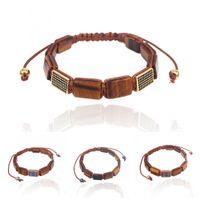 черные шарики для продажи оптовых-Hot Sale Natural stone Bracelet tiger eye Rectangle bead & Black cz  braided macrame bracelets For Men Women jewelry gifts
