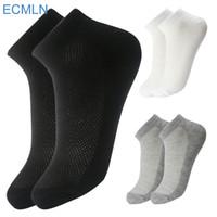 фирменные летние носки оптовых-Wholesale- 10Pair Black/White/Gray 3 Color Men Socks Male Summer Casual Short Breathable Cotton Ankle Socks Men  Dress Business Socks