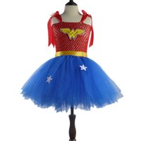 Wholesale wonder woman superhero costume for sale - Girl Superman Wonder Woman Halloween Costume Fancy Dress Super Children Party Cosplay Costumes Superhero Costumes For Girls Kids Y1891202