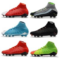 Wholesale High Ankle Shoes Mens - 2018 Mens high ankle FG soccer cleats Hypervenom Phantom III DF soccer shoes neymar IC football boots cleats Men football shoes Cheap
