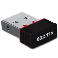 ingrosso adattatore libero del usb del wifi-150M USB Wireless Wireless Adapter 150 Mbps IEEE 802.11n g b Mini adattatori Antena Chipset MT7601 Scheda di rete 100 pz DHL libero