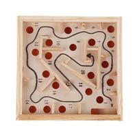 hölzernes labyrinthspiel groihandel-Kinder Lernspielzeug Holz Spiel Labyrinth Puzzle Spielzeug Denkaufgabe Puzzle Spielzeug Mini Labyrinth Intellektuelle Entwicklung Spielzeug