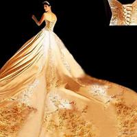 vestido de novia de marfil dorado al por mayor-Caliente ! Nuevo 2019 La mejor calidad personalizada Ivory Satin Gold bordado cabestro una línea de vestidos de novia con Royal Train 2020 vestidos de boda nupciales 543