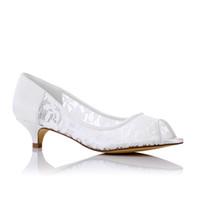 fildişi saten düğün topuklu toptan satış-3 cm Topuk Yüksekliği Fildişi Renk Saten Güzel Dantel Gelin Ayakkabıları düğün Ayakkabı ile kaliteli Toptan fiyat