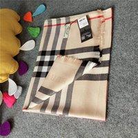 lenços de seda de grandes dimensões venda por atacado-Lenços macios Fios De Seda Confortável Mulheres Lenços Enrole Oversized Check Cachecóis Lenços Lenço