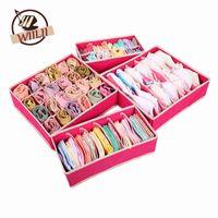 ingrosso lingerie in scatola-Pieghevole beige Rose scatole per biancheria intima reggiseno calzini Tie Lingerie Organizer divisore armadio TIdy Caixa Desktop Storage Box Supply