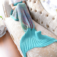 Wholesale rug girls for sale - Group buy Mermaid Tail Blanket Adult Sofa Acrylic Fibres Knitting Woman Girls Multi Color Fish Scale Grid Quilt Rug Cocoon Sleeping Sack Gifts yt bb