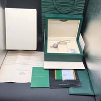 etiquetas de relojes de lujo al por mayor-La mejor calidad Caja de regalo de la caja del reloj verde oscuro de lujo para relojes Rolex Etiquetas de tarjetas de folletos y papeles en cajas de relojes suizos ingleses de calidad superior