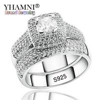 conjunto de anillos de boda de circón al por mayor-YHAMNI Anillos de Compromiso de Lujo Conjunto Original Real 925 Plata Sólida Blanca CZ Circón Anillo Set Boda joyería fina R149