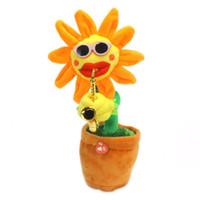 modeller giymek toptan satış-Elektrikli Peluş Oyuncaklar Sing Dans Büyüleyici Çiçek Ayçiçeği El Yapımı Lüminesans Sax Bitki Modelleme Giymek Güneş Gözlüğü Yenilik Öğeleri 36cj V