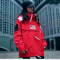 ingrosso pullover di bandiera-18FW S Pullover Jacket Uomo Donna Cappotti Fashion Flag Capispalla Top Quality Nero Army Green S ~ XL HFYRF004