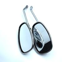серебряное прямоугольное зеркало оптовых-Для размера серебристый скутер часть хром мотоцикл зеркало заднего вида мото аксессуары прямоугольник мотоцикл зеркало заднего вида зеркало заднего вида