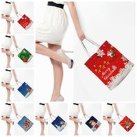 Wholesale food canvas prints - Christmas Canvas Gift Bag Santa Claus Deer Handbags 7 Styles 38*42cm Santa Sack Stuff Sacks Tote Printed Bags Storage Bags OOA5377