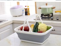 Wholesale container garage for sale - Group buy Fruits Vegetable Snacks Container Bathing Room Cloth Storage Baskets Multi Function Foldable Plastic Hand Basket New Arrival ym Z