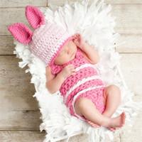 conejito recién nacido fotografía prop al por mayor-Nuevo conejito conejo recién nacido bebé ropa de niños accesorios de fotografía traje con sombrero conejo de pascua bebé infantil foto prop ganchillo fotografía apoyos