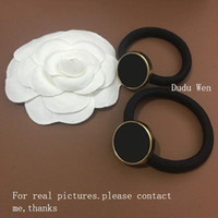 Wholesale wholesale ornaments gifts - 2018New logo 4pcs lot matel round buckle hair ties Luxury hair rope Fashion Ornament accessories Classic Elastic headbands VIP Gift