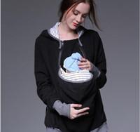 весеннее осеннее материнское пальто оптовых-Женщины материнства кенгуру толстовка Толстовка для переноски весна осень мать ребенка с капюшоном молния верхняя одежда пальто
