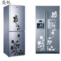Wholesale Butterfly Wallpaper Decor - Free Shipping High Quality Wall Sticker Creative Refrigerator Sticker Butterfly Pattern Wall Stickers Home Decor Wallpaper
