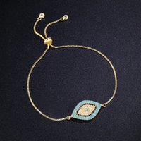 Wholesale turkish eye bracelet gold - whole saleNew Simple Designer Turkish Gold Evil Eye Bracelet Pave CZ Blue Eye Gold Chain Bracelet Fashion Charm Bracelets for Women brtk53