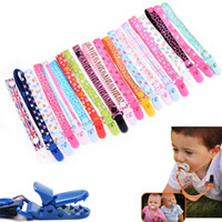 Wholesale newborn baby pacifiers - Newborn Pacifier clip INS infant printing Nipple clip Baby carriage Lanyard Children's pacifier chain rope GGA412 120PCS