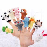 ручные куклы наборы оптовых-10pcs Plush Finger Puppets Toys Different Cartoon Animal Soft Finger Puppets Toy Set Plush Hand Theater Dolls
