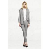 светло-серый костюм женщины оптовых-Light Gray Woman Office Suits Top And Pant Set Female Office Uniform Business Custom made Bespoke New 100% Suits A031