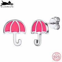 pendientes paraguas al por mayor-SILVERCUTE Pequeño Pink Umbrella Stud Pendientes para Mujeres Niñas Auténtico 925 Sterling Silver Jewelry Pendiente geométrico SCE6447B