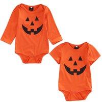 naranja bodysuit al por mayor-2018 bebé recién nacido niña de Halloween traje de mono naranja Traje de fiesta traje lindo ropa de vacaciones ZX