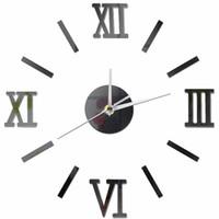 grandes relojes de plata al por mayor-3D Diseño moderno de la vendimia Reloj de pared grande DIY Retro Negro Plata Rojo Oro Reloj de cuarzo Decorativo espejo de cristal acrílico