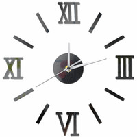 черные современные настенные часы оптовых-3D Vintage Modern Design Large Wall Clock DIY Retro Black Silver Red Gold Clock Quartz Decorative mirror crystal Acrylic