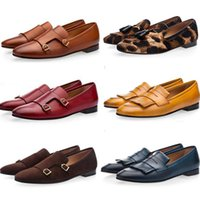 Wholesale White Black Evening Shoes - Tangerine Belgian Brushed Nappa Loafers Men Mustard Suede Fringed Flats Patent Leather Evening Shoes Espadrilles Buckle Taupe Slippers