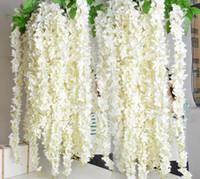 ingrosso arredamento per giardino-Artificiale Hydrangea Flower Vine 14 colori FAI DA TE Simulazione Matrimonio Arco Porta Appeso A Casa Muro Glicine Per Matrimonio Garden Decor